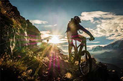 Mountain biking at dusk